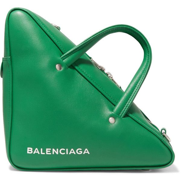 Balenciaga Balenciaga - Duffle Small Leather Tote - Green ($1,290) ❤ liked on Polyvore featuring bags, handbags, tote bags, green tote, green leather tote, cell phone purse, leather purses and leather tote bags