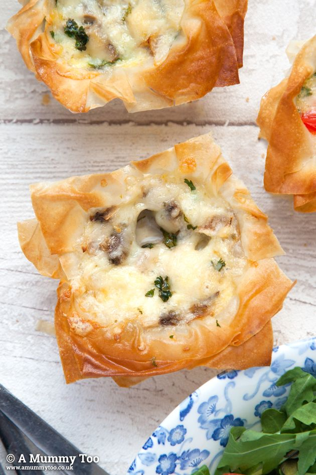 Filo pastry mini quiches