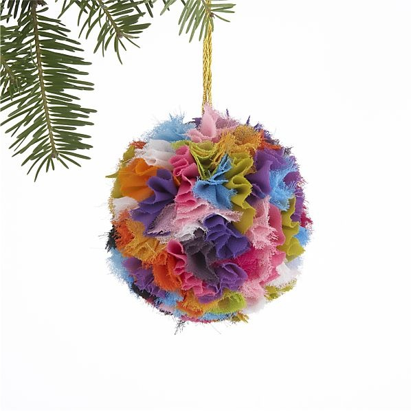 Remnant Puff Ball Ornament in Christmas Ornaments | Crate and Barrel - I can make this!
