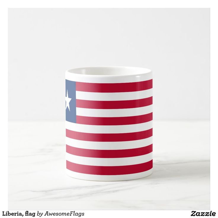 Liberia, flag basic white mug