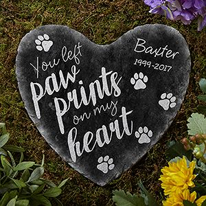 Pet Memorial Ideas For The Garden we sell top quality dog memorials made out of the finest slate stone sandstone marble and york stone great for garden pet dog gravestones and markers Paw Prints On My Heart Personalized Heart Garden Stone