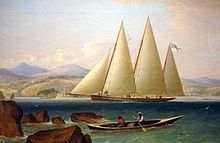 A three-masted Bermuda sloop of the Royal Navy, ca. 1831. Also called Ballyhou schooners, the RN referred to these as sloops-of-war.