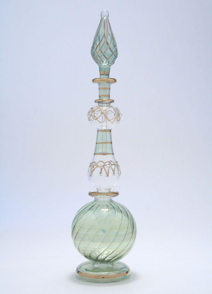 Egyptian Perfume Bottles- Blown Glass - Green Genie Style Bottle  4-46-8