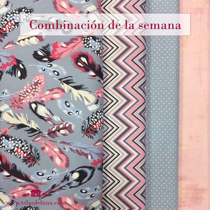 ROSA+AZUL: Telas de patchwork: Combinar telas rosa de patchwork Vemos que no somos las únicas enamoradas de la tela de plumas de Gütermann creativ España ✂️✂️✂️ y por eso no queríamos esperar más para hacer una combinación con esta tela   Las referencias de las telas son: 9906, 9910, 9657 y 9057