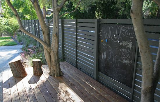 Loving charcoal fencing at the moment... The fact that the designer has incorporated a blackboard makes this a very child friendly solution :)