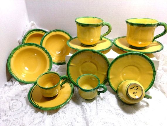 Italy Pottery Dinnerware set Yellow Green by NewEnglandReflection