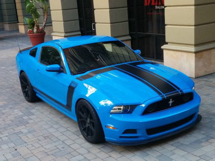 """americanclassicmusclecars: """"2013 Ford Mustang Boss 302 Grabber Blue,V8 5.0L 4951CC 302Cu. In. V8 GAS DOHC Naturally Aspirated.The car is fully optioned with the Torsen Limited Slip Differential and..."""