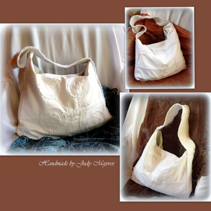 Handmade by Judy Majoros-White denim bag. Crochet bag. Hobo bag. Recycled bag.