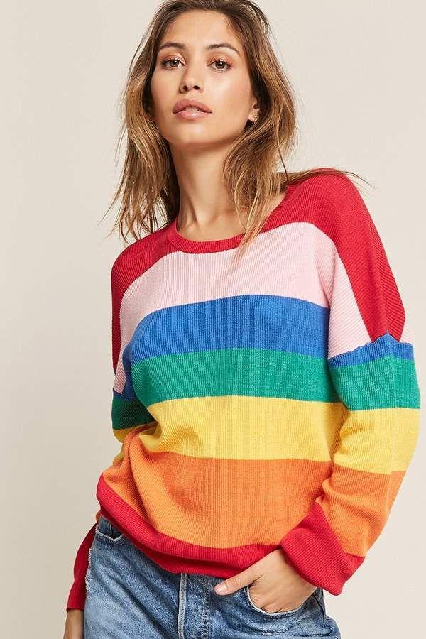 4ce989dcda1d FOREVER 21 Rainbow-Stripe Top