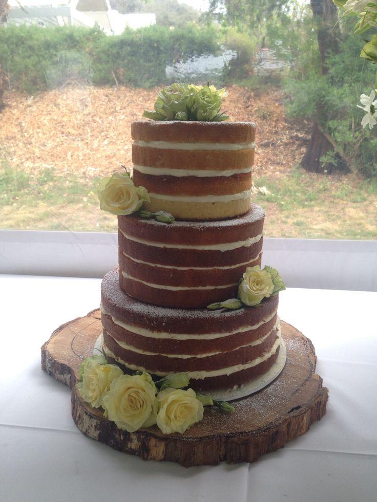 Three tier naked cake