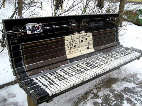 A bench turned into a piano. Pretty cool.