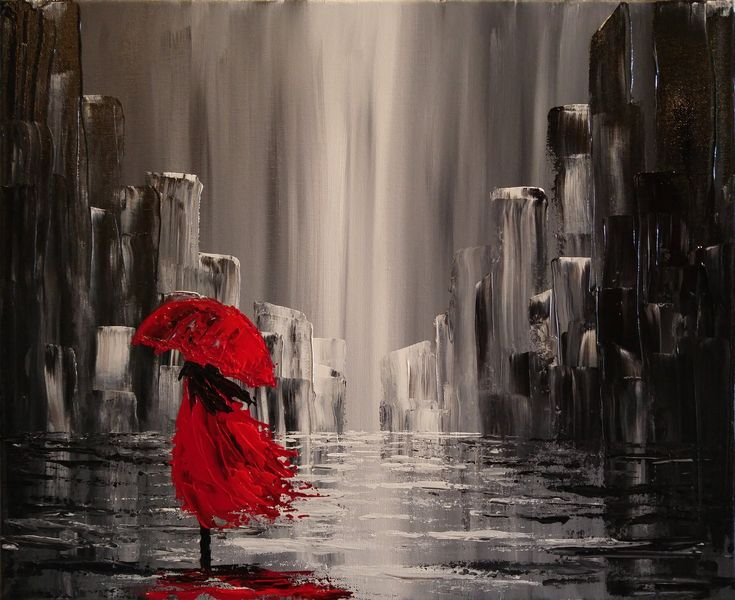 A Walk in the Rain Step by Step Acrylic Painting on Canvas for Beginners