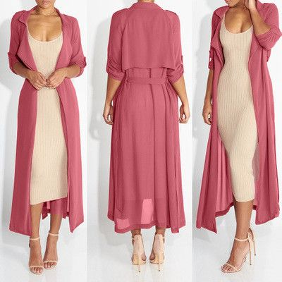 Fashion Long Sleeve Chiffon Cardigan Women Turn Down Collar Long Outerwear Coats Ladies Plus Size Slim Coat With Belt