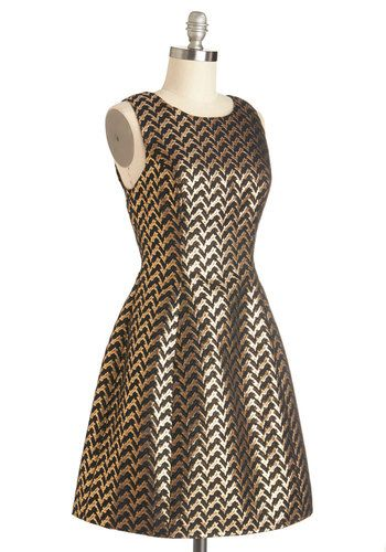 metallic gold a-line dress for the holidays