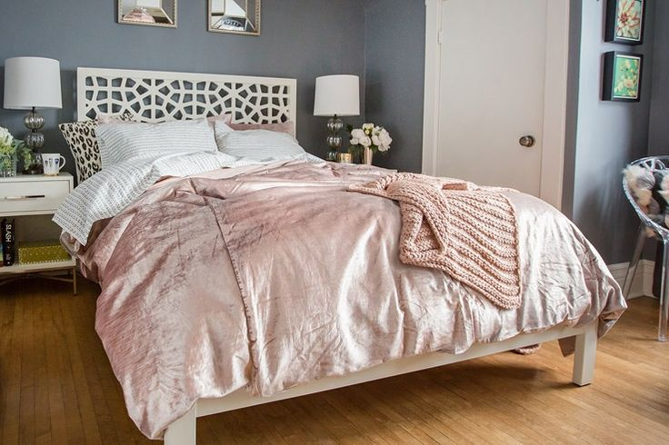 Shop Washed Luster Velvet Duvet Cover + Shams, Horizontal Double Rib Throw, City Storage Nightstand - White, Morocco Bed - White, Abacus Table Lamp - Round Fluted and more
