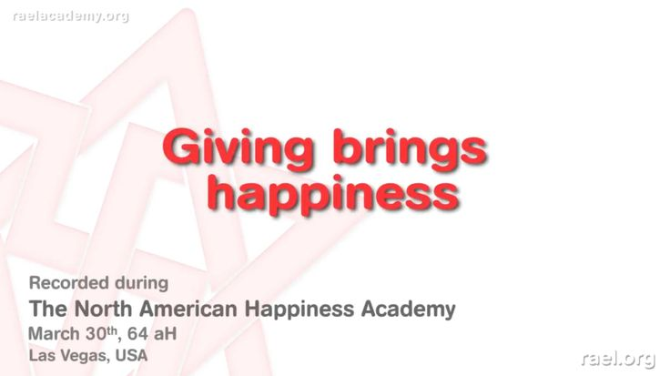In this video, he explains to be happy now and that giving brings happiness and the more  you give, the more rich you become in happiness .   It was held in Las Vegas, USA, at the end of March 2010 (year 64 after Hiroshima).  Make sure to listen and see and other videos in this series  ;) #raeltv