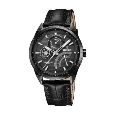 FESTINA F16989/1 Ανδρικό σπορ ρολόι FESTINA με μαύρο καντράν, ημέρα, ημερομηνία, 24ωρη ένδειξη και μαύρο κροκό δερμάτινο λουρί | ΤΣΑΛΔΑΡΗΣ στο Χαλάνδρι #Festina #ημερα #ημερομηνια #μαυρο #λουρι #ρολοι