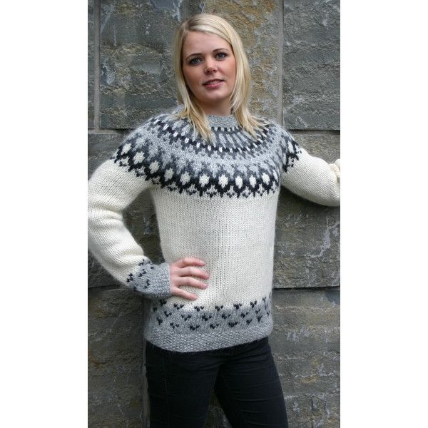 Icelandic Wool | Handknitted Wool Cardigans with Zipper | Skipper Pullover White