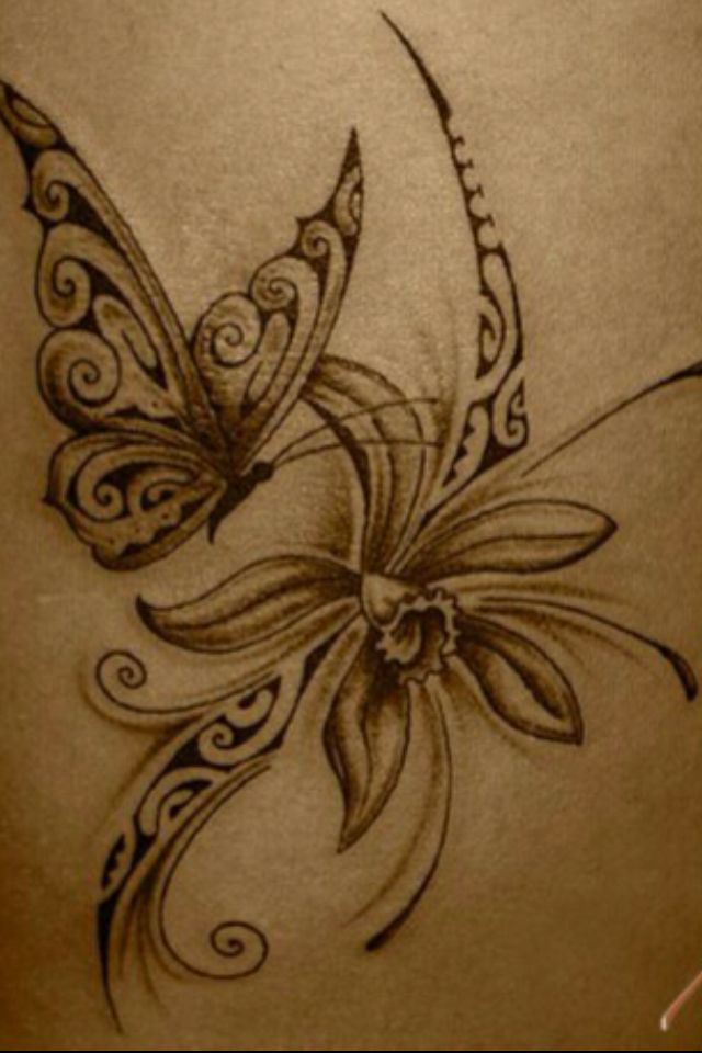 Polynesian butterfly and flower. Not my kind of style but this is lovely.