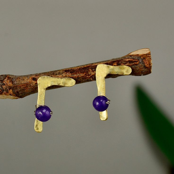 Letter G earrings, personalized studs, Greek G jewelry, brass charms, hammered monogram, purple jade studs, women gift under 20 by ColorLatinoJewelry on Etsy