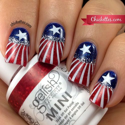 Patriotic 4th of July Nail Art @ Chickettes.com - Happy Independence Day! I'm in a very patriotic mood, and what better way to show it than with good 'ol red, white, and blue with stars and stripes!