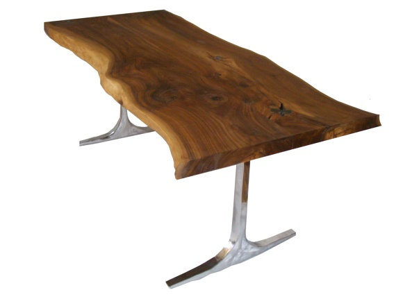 Incredible live edge table with aluminium base and chrome for Nec table 373 6