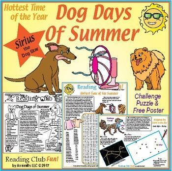 DOG DAYS OF SUMMER Puzzle Set - cool puzzle fun for the hottest time of the year! Learn the history, some safety tips for the heat and about Sirius, the Dog Star – the brightest star.