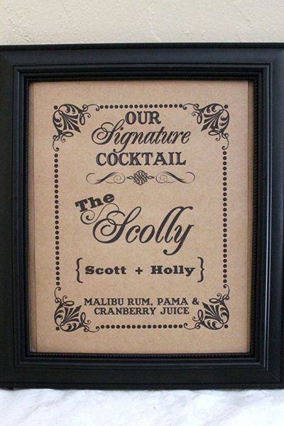Create a signature drink that appeals to both of your palates, and name it a portmanteau of your names.�Photo Credit: AkaPertyfultings/Etsy