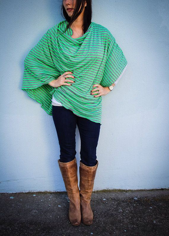Nursing Cover/ Modern Nursing Poncho for Full Coverage and Privacy While Breastfeeding your Modern Baby in Neon Green and Gray op Etsy, $27.38