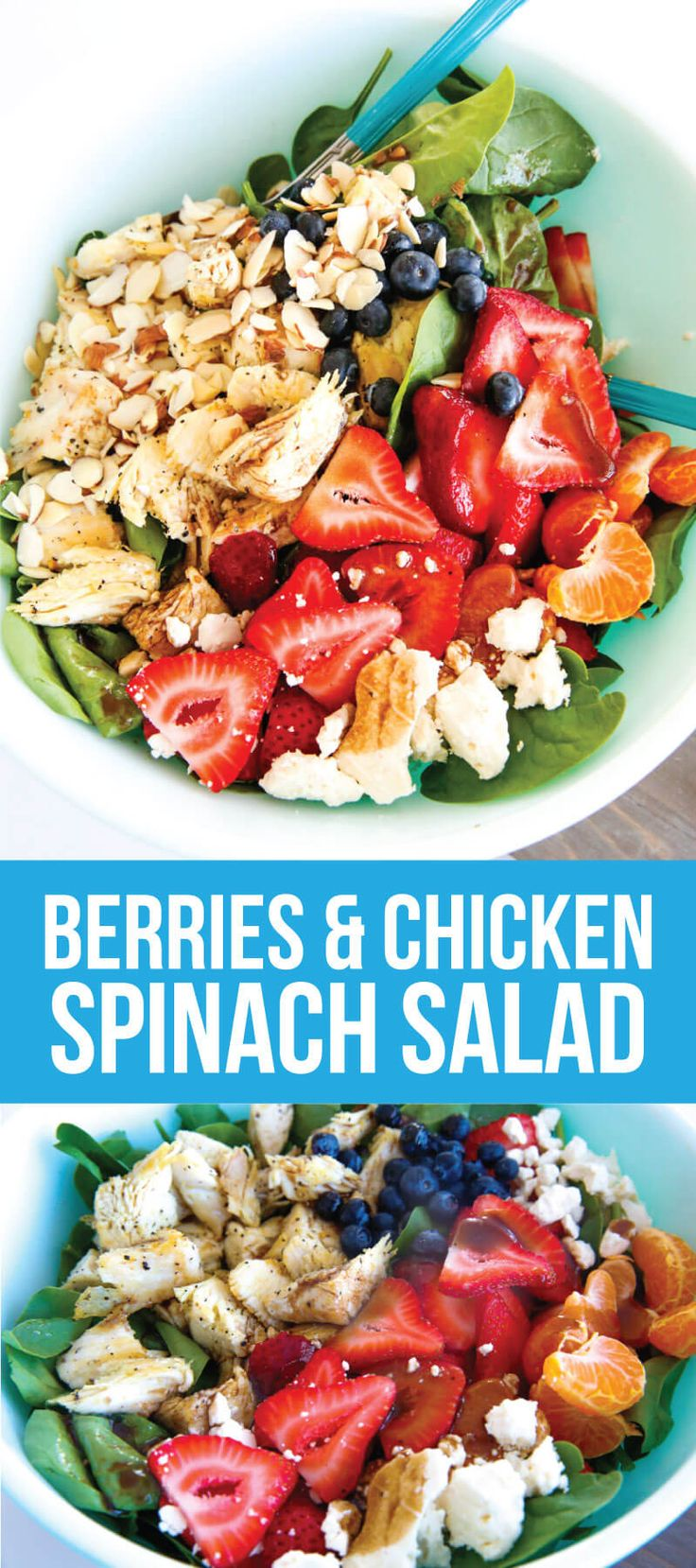 Berries and Chicken Spinach Salad - a tasty, healthy salad that is super easy to make.  Made even better with Rubber Maid Fresh Works Produce Saver.   #sp www.thirtyhandmadedays.com