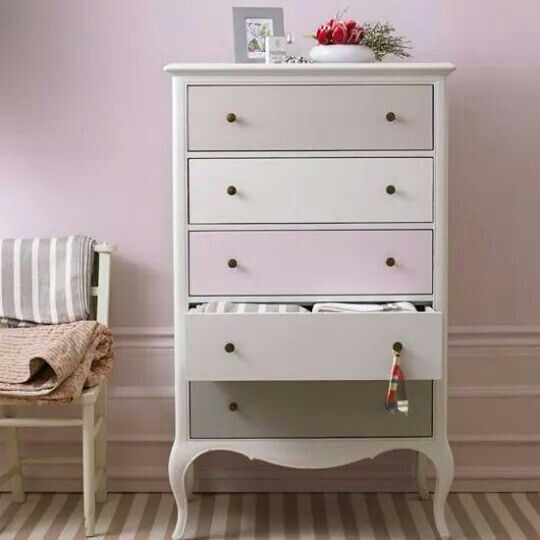 Lovely drawers with different coloured fronts