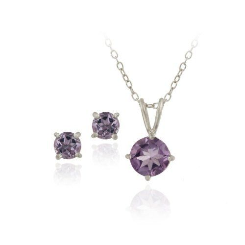 """Sterling Silver 2ct TGW Amethyst Round Solitaire Pendant & Stud Earrings Set, 18"""" SilverSpeck.com. $14.99"""