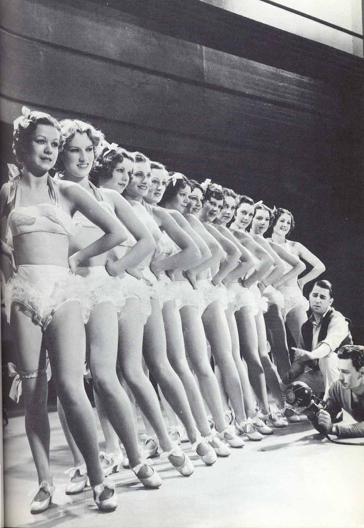 Kind of the silhouette I'm picturing for the Snowflakes, especially the tap shorts. 1920s Busby Berkeley showgirls.