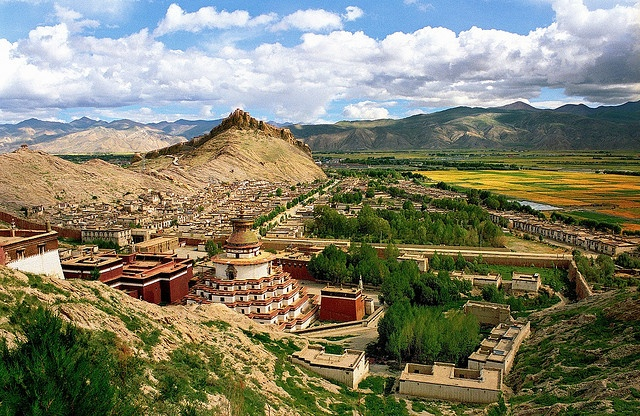 The Palcho Monastery, Gyantse, Tibet. Tibet, the roof of the world, with its average elevation of 4,900 meters (16,000 ft), is the mountain land covered by Himalayas towering proudly above the magical landscape. Tibet is a truly spiritual place in terms of both the nature and religion. The incredible Tibetan monasteries fit perfectly into the remote and beautiful surroundings.