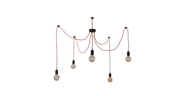 Une GROSSE réduction de 55% sur la suspension épurée et originale Spider Lamp Rouge 5 globes de Filament Style chez Westwing !