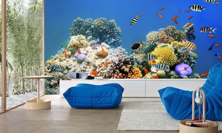 Fotomural Coral y Peces a $69.000 el metro cuadrado.