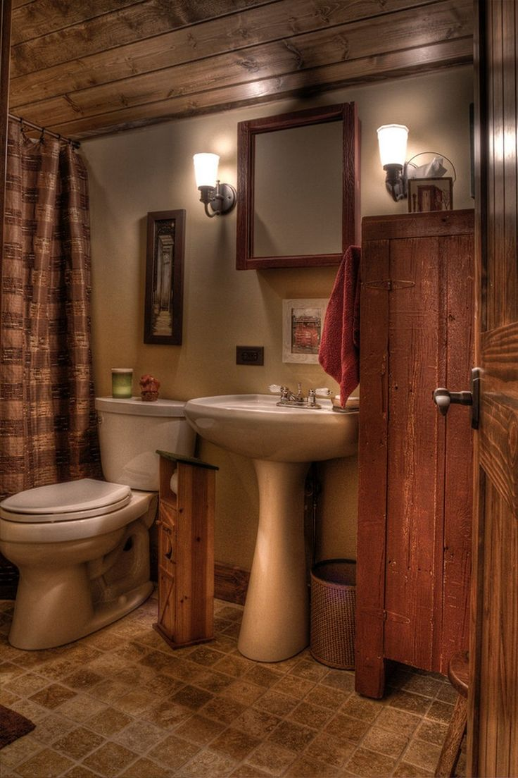 25 best rustic powder room ideas on pinterest basement decorating ideas shelves and half - Small country bathroom designs ...