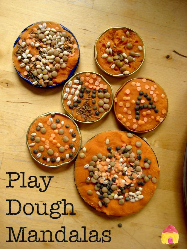 Play dough mandalas for sensory play using spices