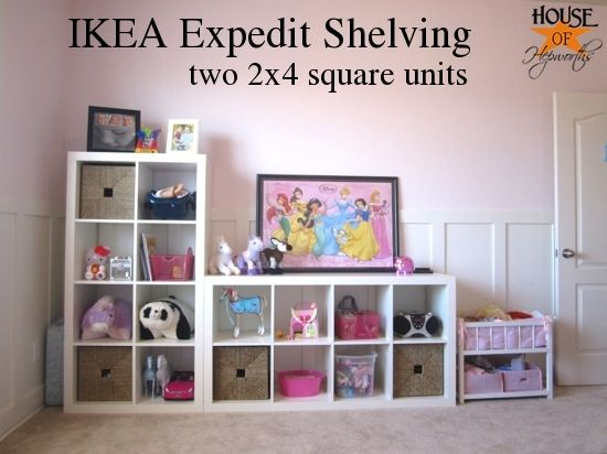 Another great idea from Allison's blog.   IKEA Expedit shelving