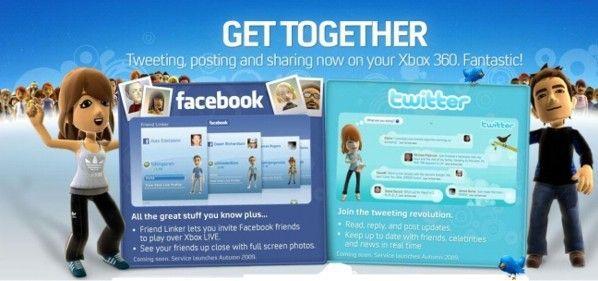 Con la nueva actualización del Dashboard de Xbox 360, Microsoft retiró las aplicaciones de Facebook y Twitter para la consola.