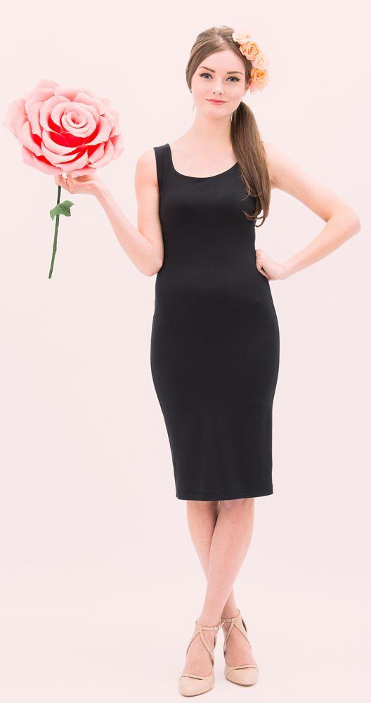 Lola midi black bamboo dress for layering by Jessica Rose