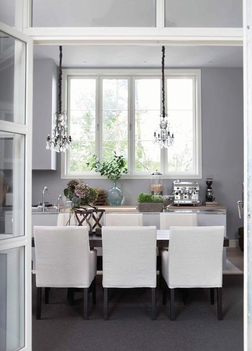 elegant dining kitchen - brilliant idea in a small space!