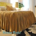 Ready for more ruffles. This one is a fitted sheet, so you can sleep on it. All you need is two king size sheet sets. I was going to do t...