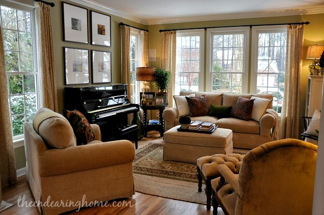 Living Room Makeover - The Endearing Home. I want a living room that is as classic and comfortable as this.  I love how it is perfectly accessorized without looking cluttered.  Beautiful!