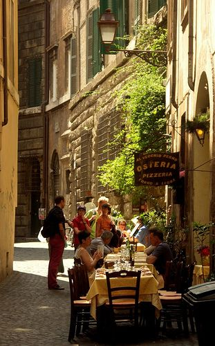 Osteria ~ are basically small family taverns, often without any particular names, which uses local, seasonal cuisine...this one is located in Rome, Italy.