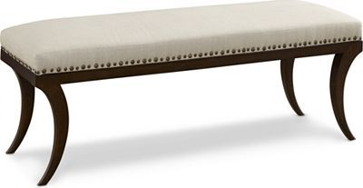 Phoebe Bench (Tiburon)   The Phoebe bench belongs at the foot of a bed. Or does she? Your foyer or family room may beg to differ. With classic Klismos-style legs and a generously padded (and artfully tailored cushion outlined in nailhead) seat. Smart decorators know every room benefits from a great bench.