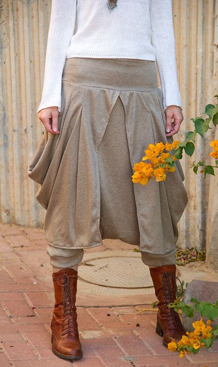 Beige boho stylish harem pants and skirt together with elastic waist.. $99.00, via Etsy.