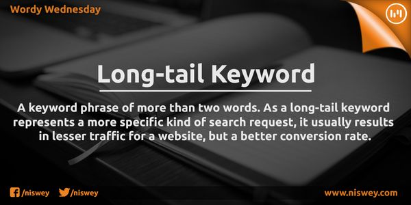 Long-tail Keyword: A keyword phrase of more than two words. As a long tail keyword represents a more specific kind of search request, it usually results in lesser traffic for a website, but a better conversion rate