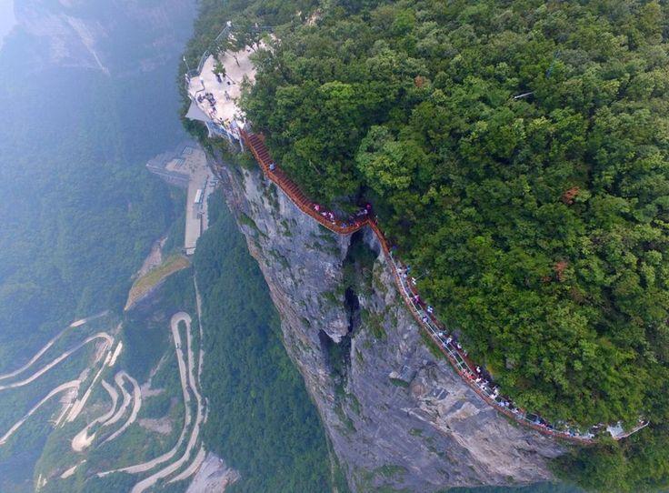 China's glass walkway opens in Tianmen mountain - BBC News