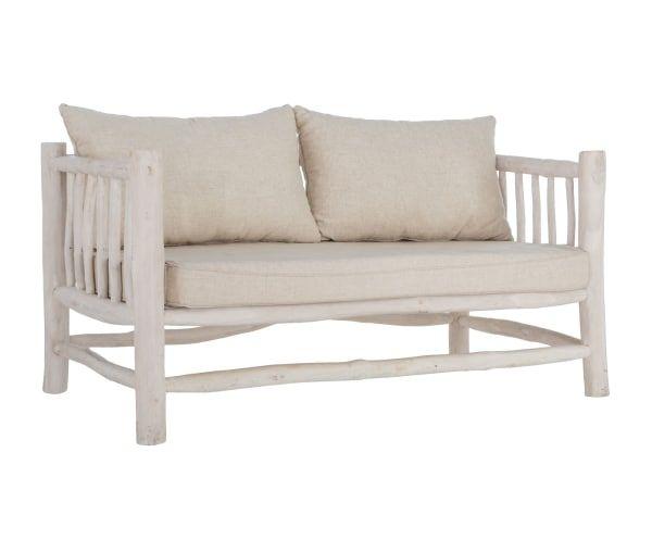 Sofá de 2 plazas en madera de teca, algodón y lino Sahel - blanco